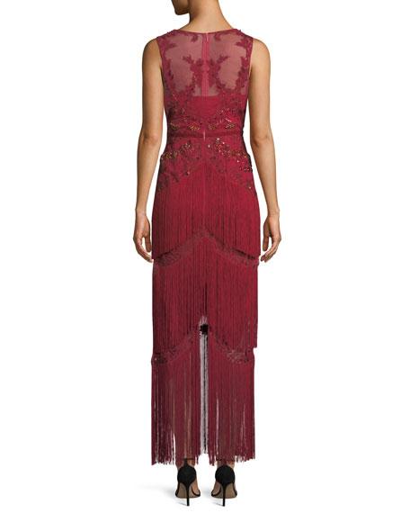 All Over Beaded Sleeveless Fringe Long Dress