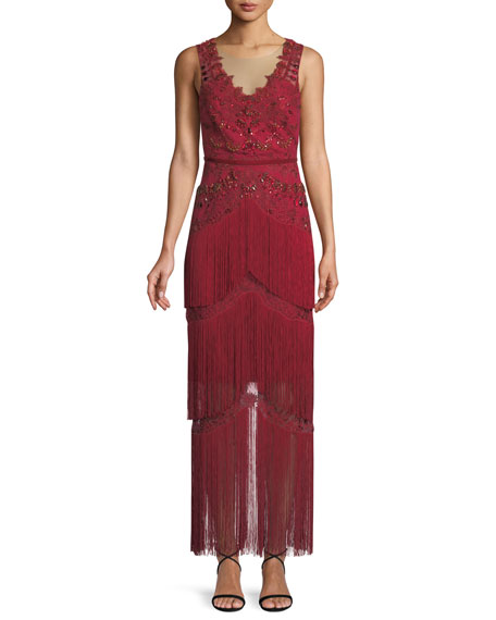 Marchesa Notte All Over Beaded Sleeveless Fringe Long