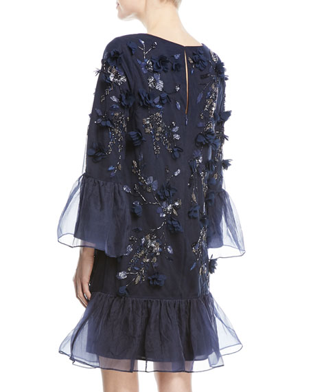 Tunic-Cut Cocktail Dress with 3D Flowers & Organza Ruffles