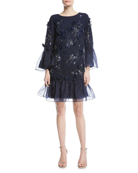 Marchesa Notte Tunic-Cut Cocktail Dress with 3D Flowers