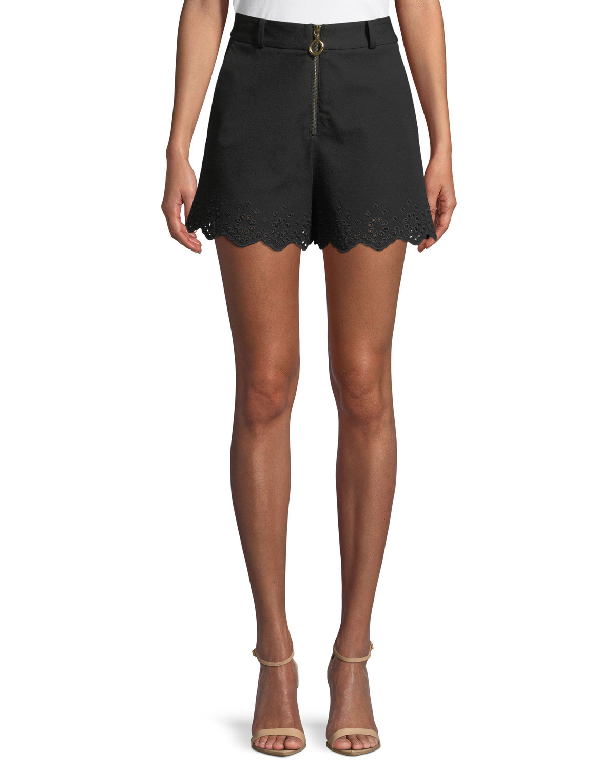 1193c04dac Derek Lam 10 Crosby High-Waist Stretch-Cotton Shorts with Eyelet Embroidery