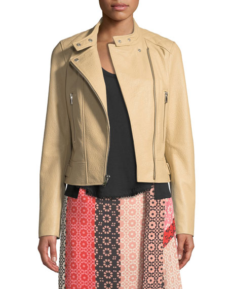 Derek Lam 10 Crosby Granulated Leather Zip-Front Moto