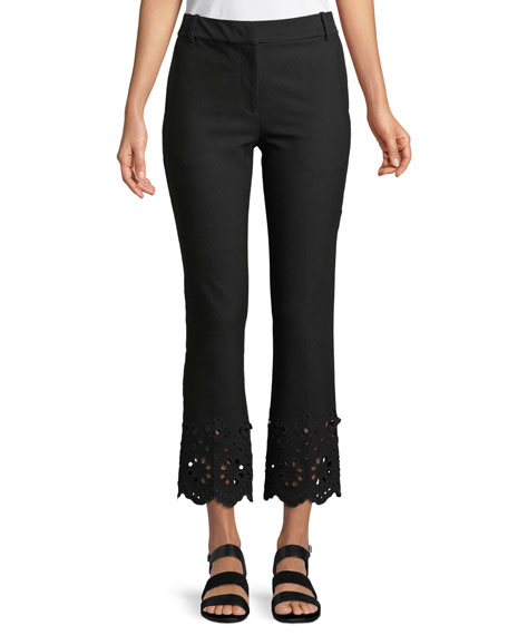 Derek Lam 10 Crosby Cropped Flare Stretch-Cotton Trousers with Eyelet Embroidery