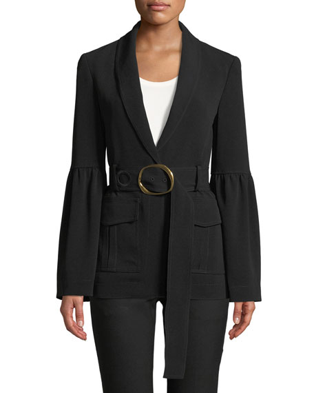 Derek Lam 10 Crosby Shawl-Collar One-Button Crepe Blazer