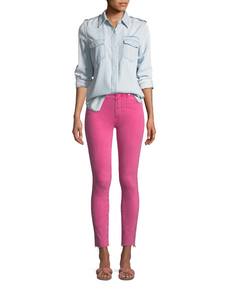 PAIGE Hoxton Skinny Ankle Jeans with Raw-Hem