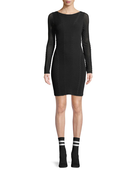 Rag & Bone Brandy Long-Sleeve Mesh Paneled Mini