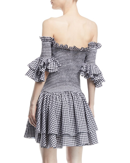 Kendall Off-the-Shoulder Smocked Ruffled Gingham Cotton Dress