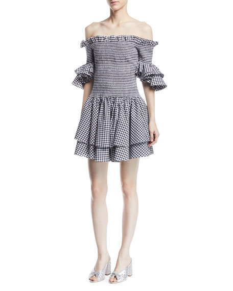 Caroline Constas Kendall Off-the-Shoulder Smocked Ruffled Gingham