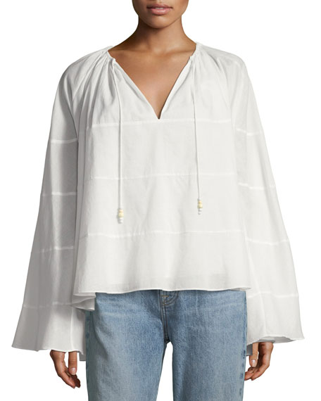 Fleur Ruffled V-Neck Long-Sleeve Top in White