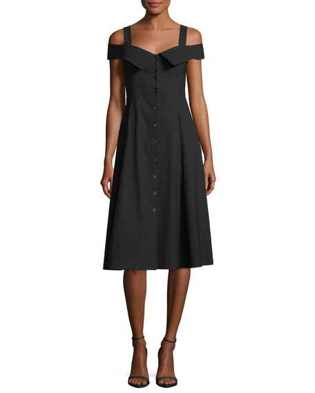 A.L.C. Hudson Button-Front Linen-Blend Midi Dress