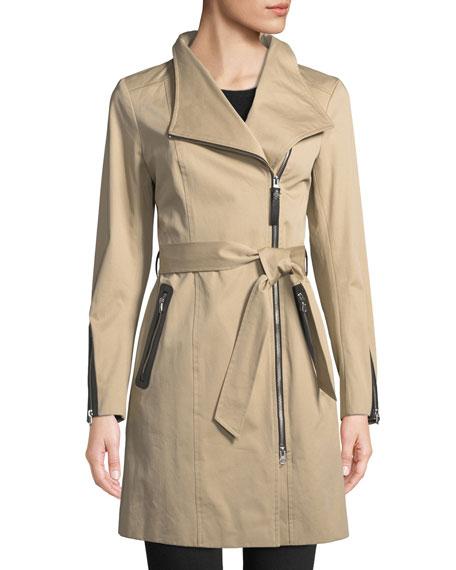 Mackage Estela Belted Trench Coat w/ Contrast Zippers