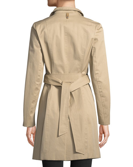 Estela Belted Trench Coat w/ Contrast Zippers