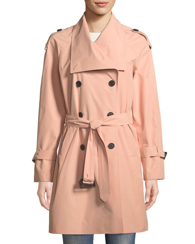 Cinzia Double-Breasted Belted Rain Jacket