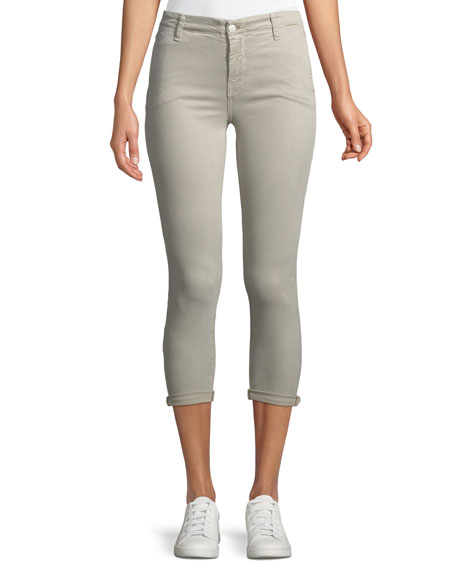 J Brand Anja Mid-Rise Skinny Cuffed Crop Jeans