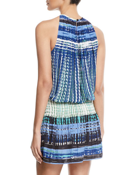 Paris Warp-Print Sleeveless Blouson Dress