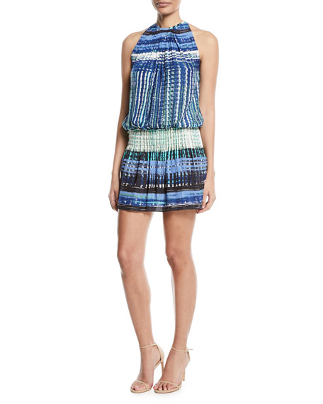 Ramy Brook Paris Warp-Print Sleeveless Blouson Dress