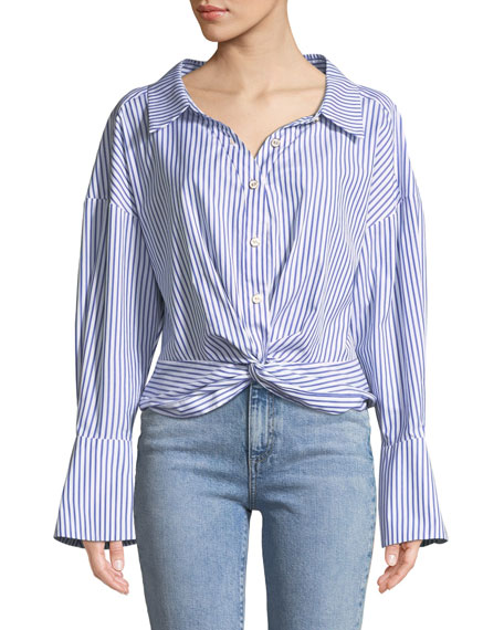 Kos Open-Neck Button-Down Tie-Front Striped Top