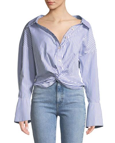 Kos Open-Neck Button-Down Tie-Front Striped Top