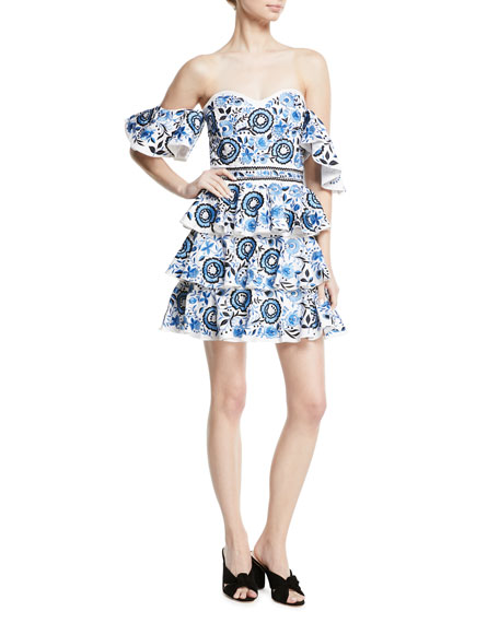 Caroline Constas Irene Ruffled Cotton Mini Dress