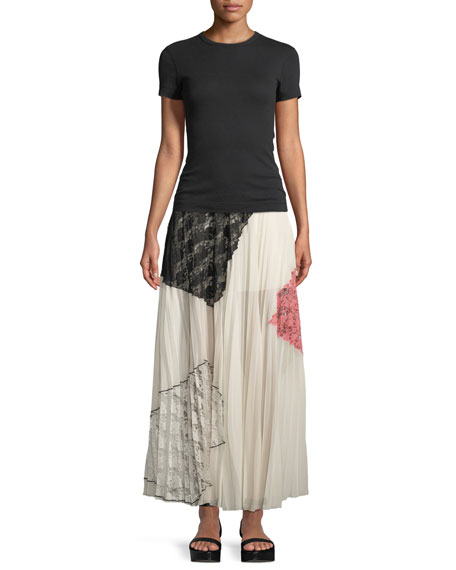 Pleated Midi Skirt with Lace Inserts