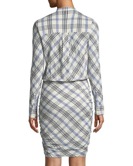 Della Plaid Tie Front Dress