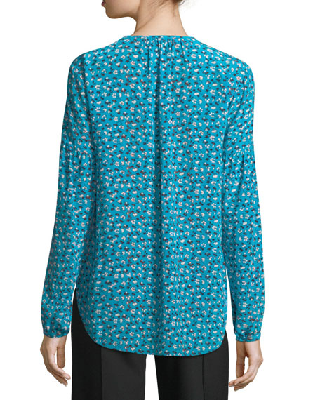 Roca V-Neck Button-Front Floral-Print Silk Blouse