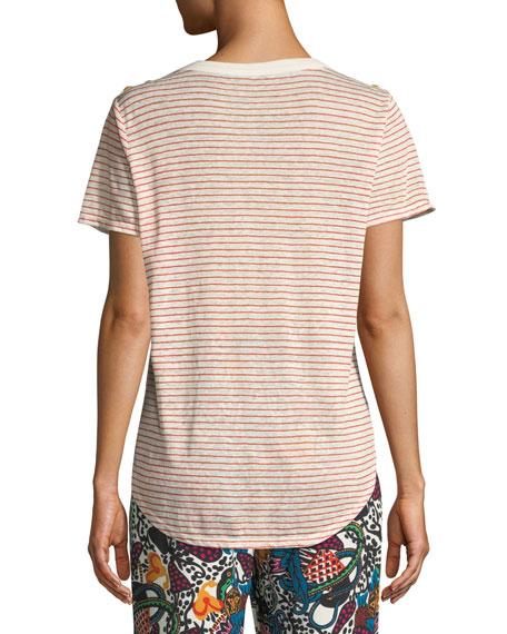 Samira Scoop-Neck Button-Shoulder Striped Linen Top