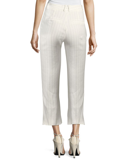 Image 2 of 3: Veronica Beard Allegra Cropped Lace-Up Pants