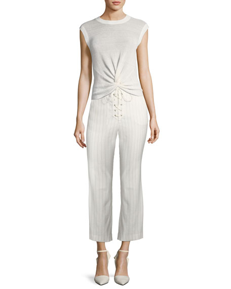 Image 3 of 3: Veronica Beard Allegra Cropped Lace-Up Pants
