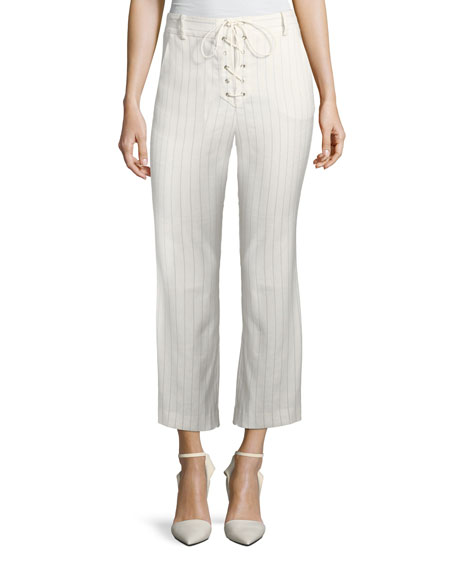 Image 1 of 3: Veronica Beard Allegra Cropped Lace-Up Pants