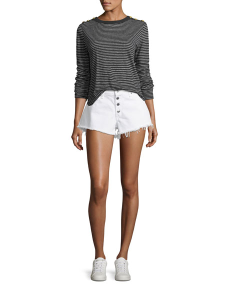Debbie Denim Shorts w/ Frayed Hem, White