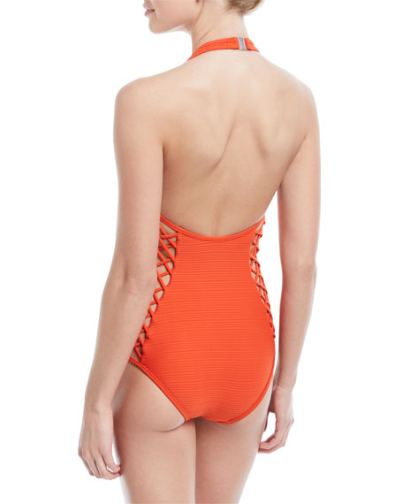 Disposition Plunging Lace-Up Sides Textured One-Piece Swimsuit