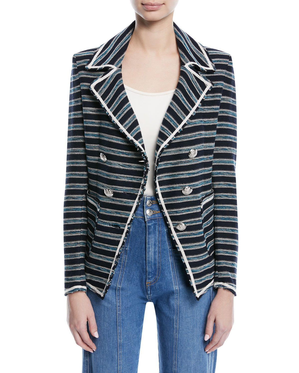 Veronica BeardCarroll Portrait-Neck Striped Tweed Double-Breasted Jacket 1cc5644a7d1