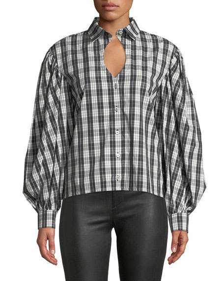 Long-Sleeve Keyhole Blouse in Plaid