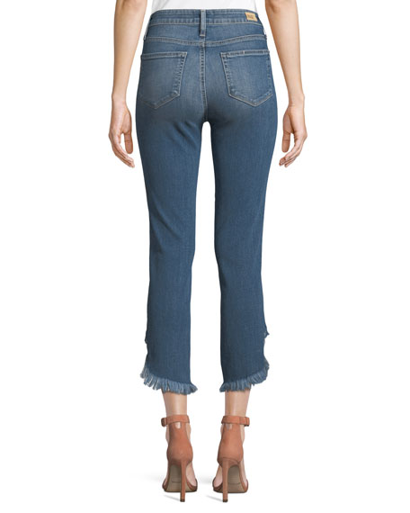 Hoxton Straight-Leg Ankle Jeans w/ Curved Fray Hem