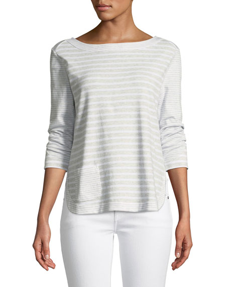 Joan Vass Luxe Cotton Interlock Top with Back-Zip