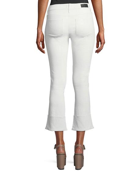 Duchess Cuffed Flare-Leg Leather Pants
