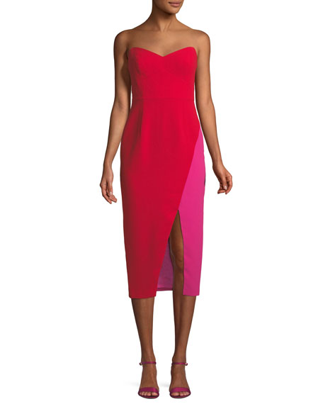 Two-Tone Strapless Midi Cocktail Dress