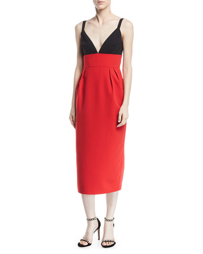 Two-Tone V-Neck Sleeveless Cocktail Dress