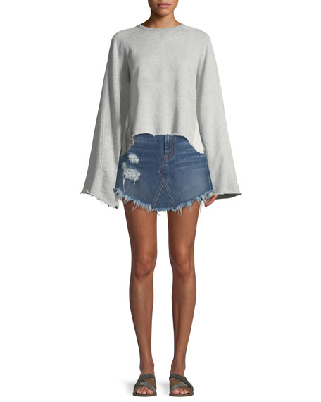 Distressed Denim A-Line Mini Skirt