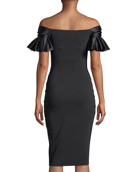 Nicolas Sweetheart Illusion Ruffle-Sleeve Cocktail Dress
