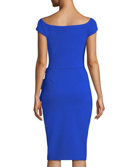 Lilas Short-Sleeve Dress w/ Ruffle Detail