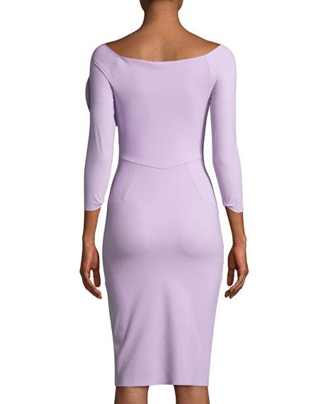 Nyoko 3/4-Sleeve Cocktail Dress w/ 3D Rose