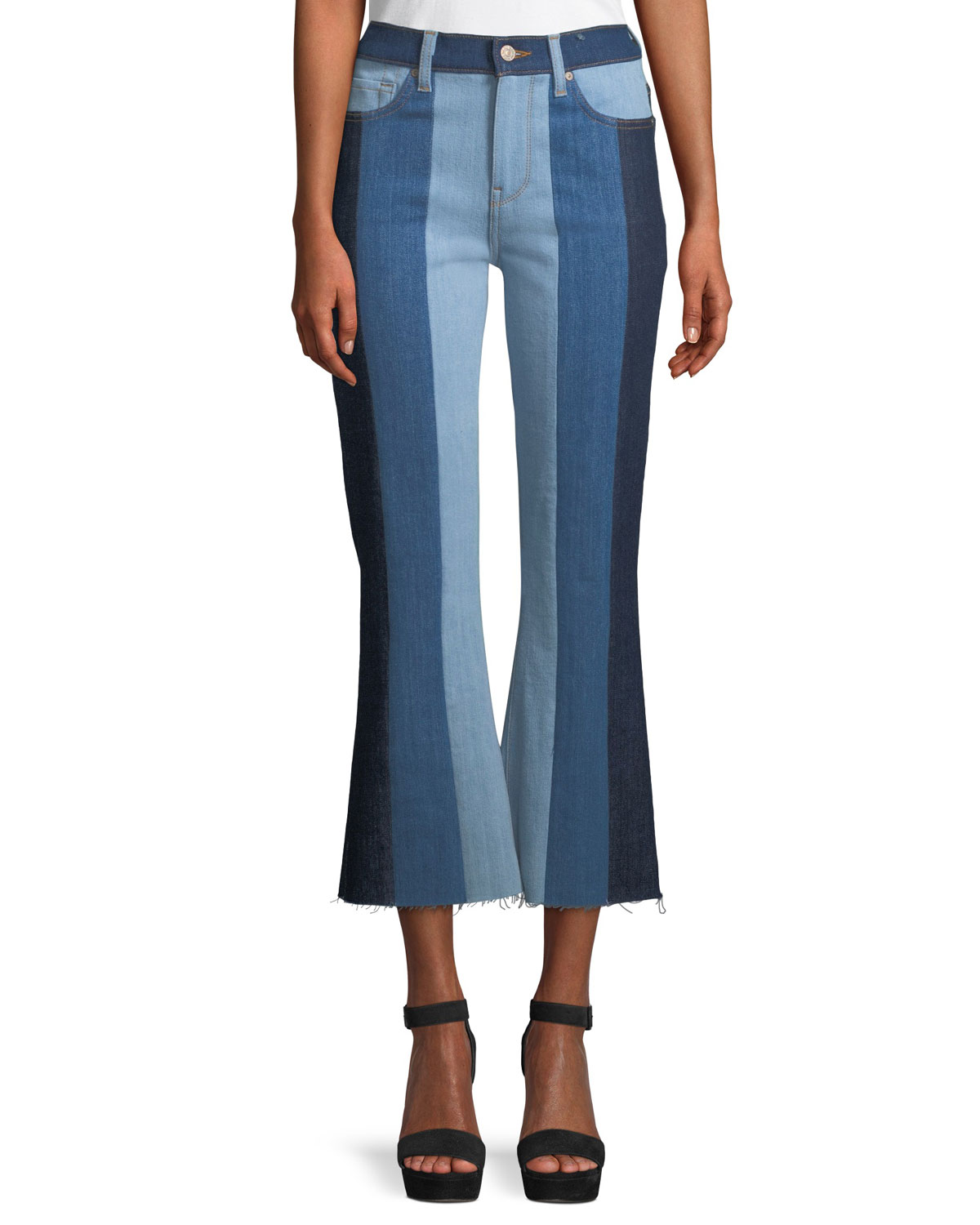 94186de350 7 for all mankind Ali Patchwork Crop Flare Jeans
