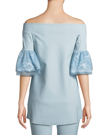 Gizzy Lace-Sleeve Off-the-Shoulder Top