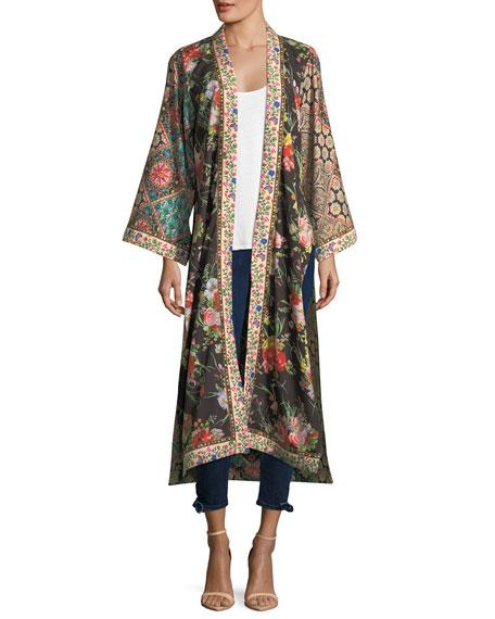 Lynn Long Side-Slit Floral-Print Silk Kimono Jacket