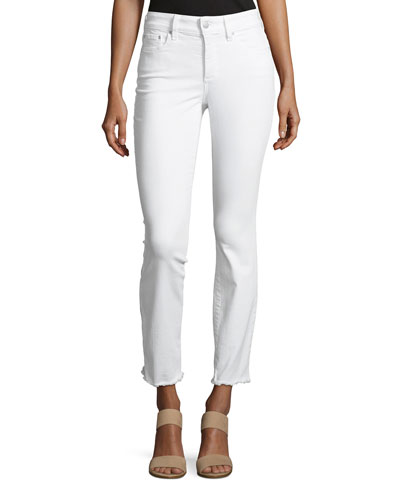 Sheri Slim Frayed-Hem Skinny Jeans