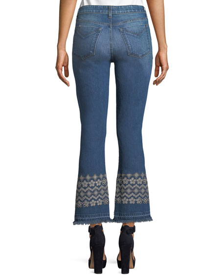 Jane Mid-Rise Flip-Flop Flare Jeans w/ Eyelet Embroidery