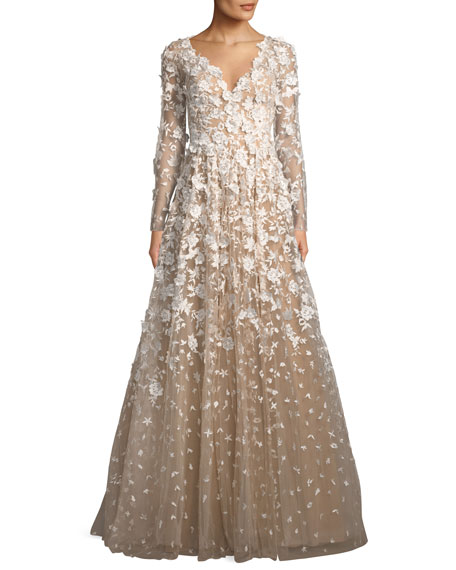 David Meister 3D Floral Long-Sleeve A-Line Gown