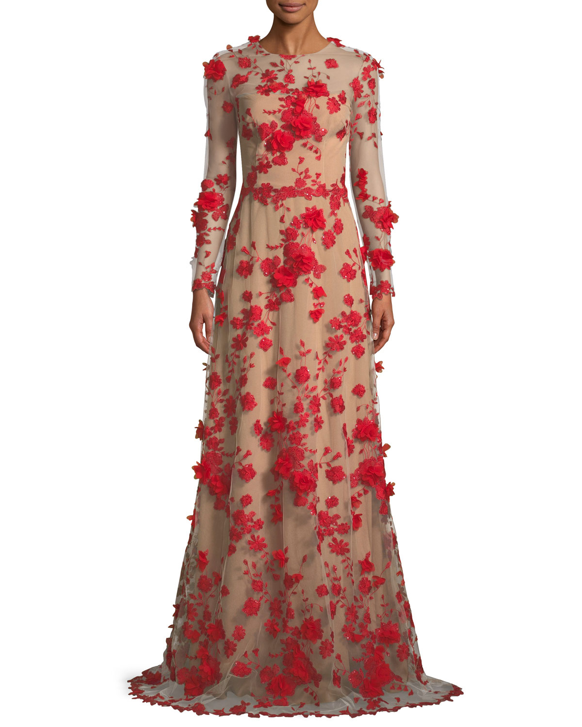 David Meister Two-Tone 3D Floral Trumpet Gown | Neiman Marcus